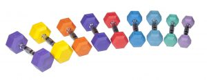 Rubber Hex Colored Dumbbells - York Barbell