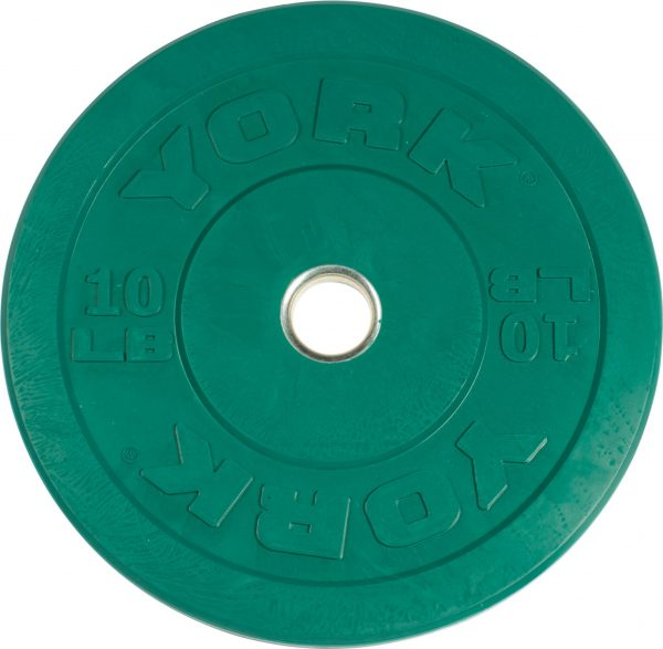 Rubber training bumper plate color york barbell