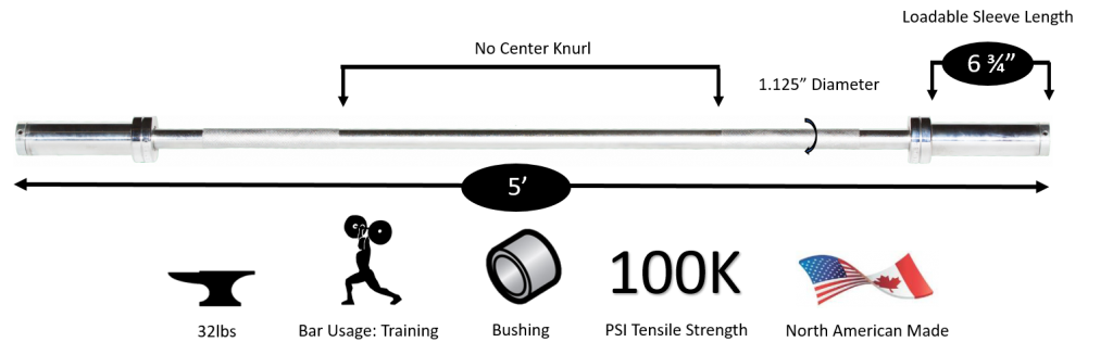 5' Chrome Olympic Weight Bar