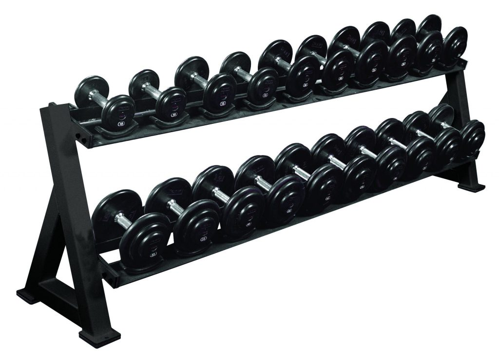 2 Tier Dumbbell Rack W Saddles Gym Equipment Storage