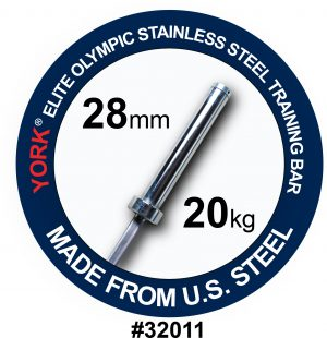 YORK Elite Olympic Stainless Steel Training Bar