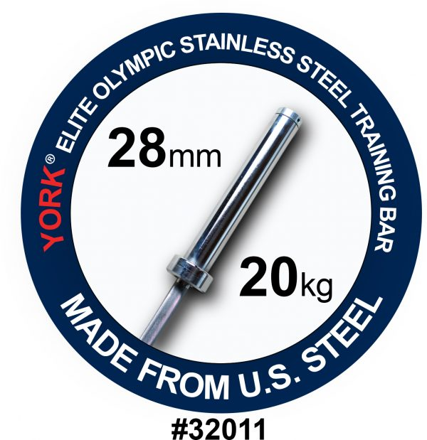 YORK Elite Olympic Stainless Steel Training Bar