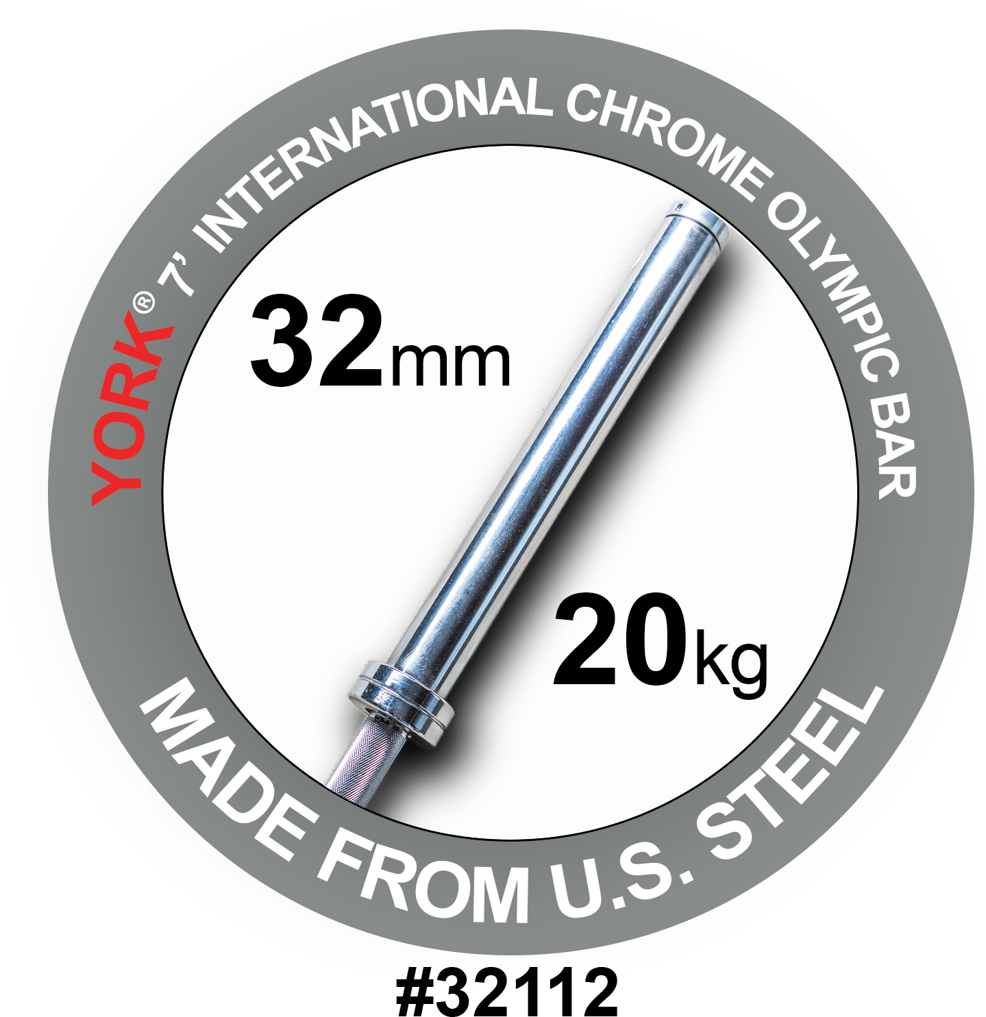 YORK 7′ International Chrome Olympic Bar – 32mm