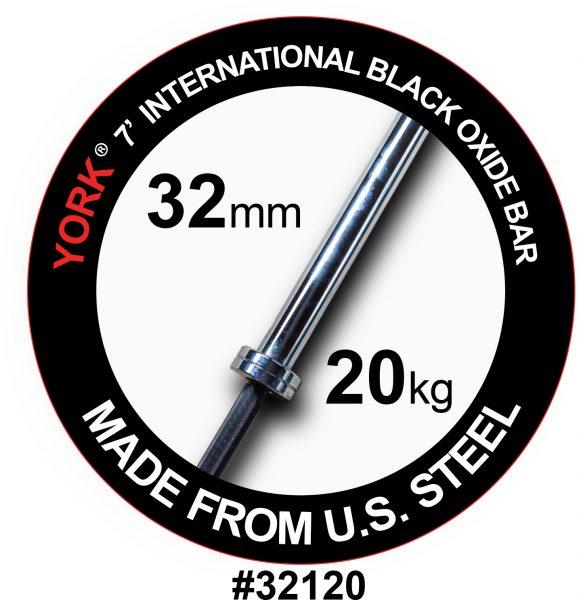 YORK 7' International Black Oxide Weight Bar - 32mm