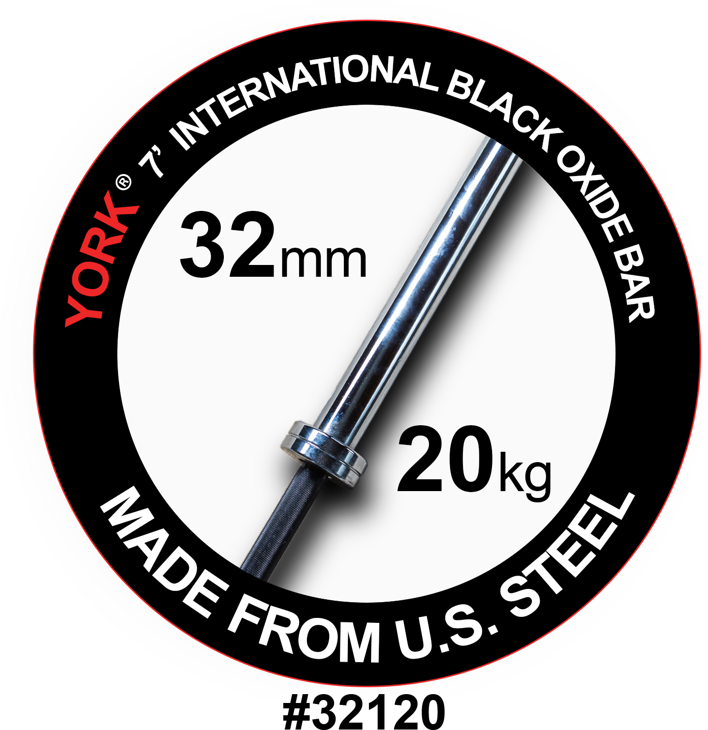 YORK 7' International Black Oxide Weight Bar - 32mm