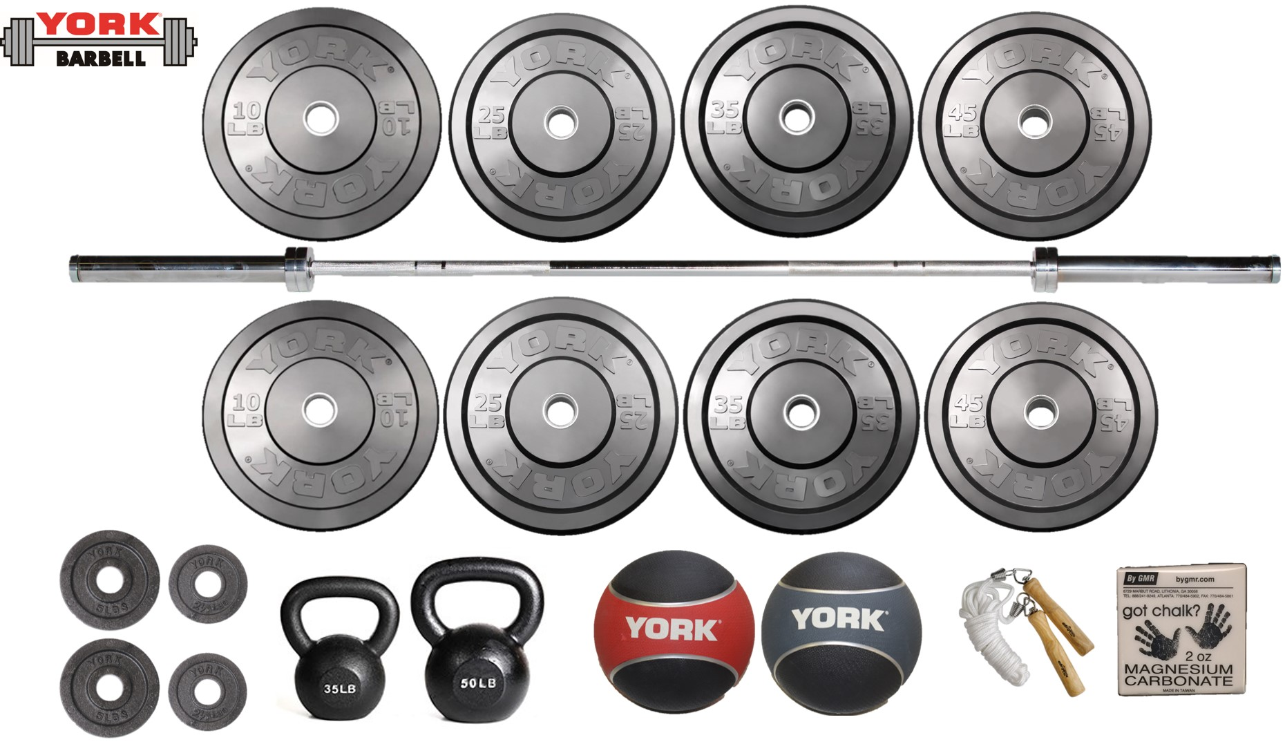 Starter garage gym package home equipment york barbell