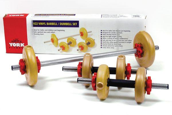 V22 Vinyl Barbell/Dumbbell Set | Gym Equipment | York Barbell