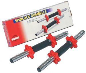 "15"" Tubular Spinlock Dumbbell Handles w/ Red Collars"