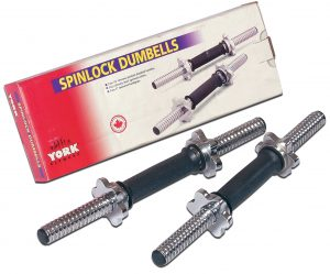 "15"" Tubular Spinlock Dumbbell Handles w/ Chrome Collars"
