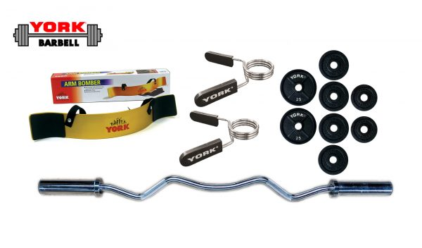 Arm Blaster Bundle - Olympic Weight Plates, Barbell and Collar - York Barbell