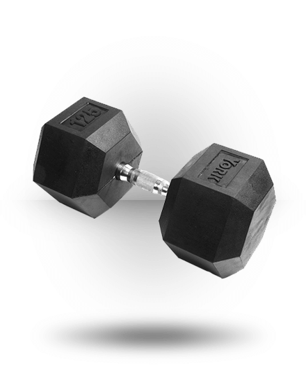 125 lbs. Rubber Hex Dumbbell | York Barbell
