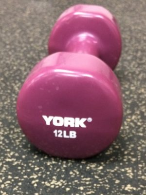 YORK 12 Lb Single Vinyl Dipped Dumbbell-Magenta
