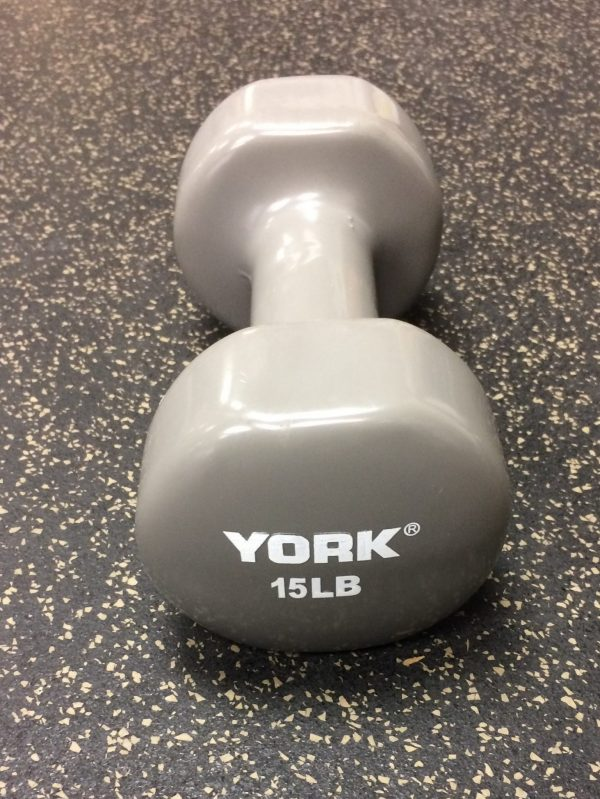 YORK 15 Lb Single Vinyl Dipped Dumbbell-Grey