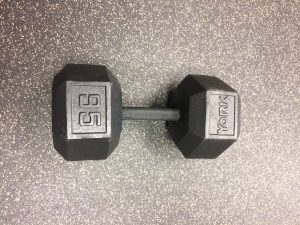 95 Lb Black Cast Iron Hex Dumbbell
