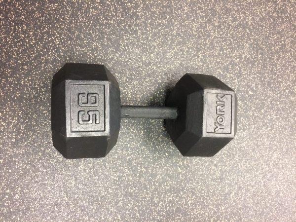 95 Lb Black Cast Iron Hex Dumbbell
