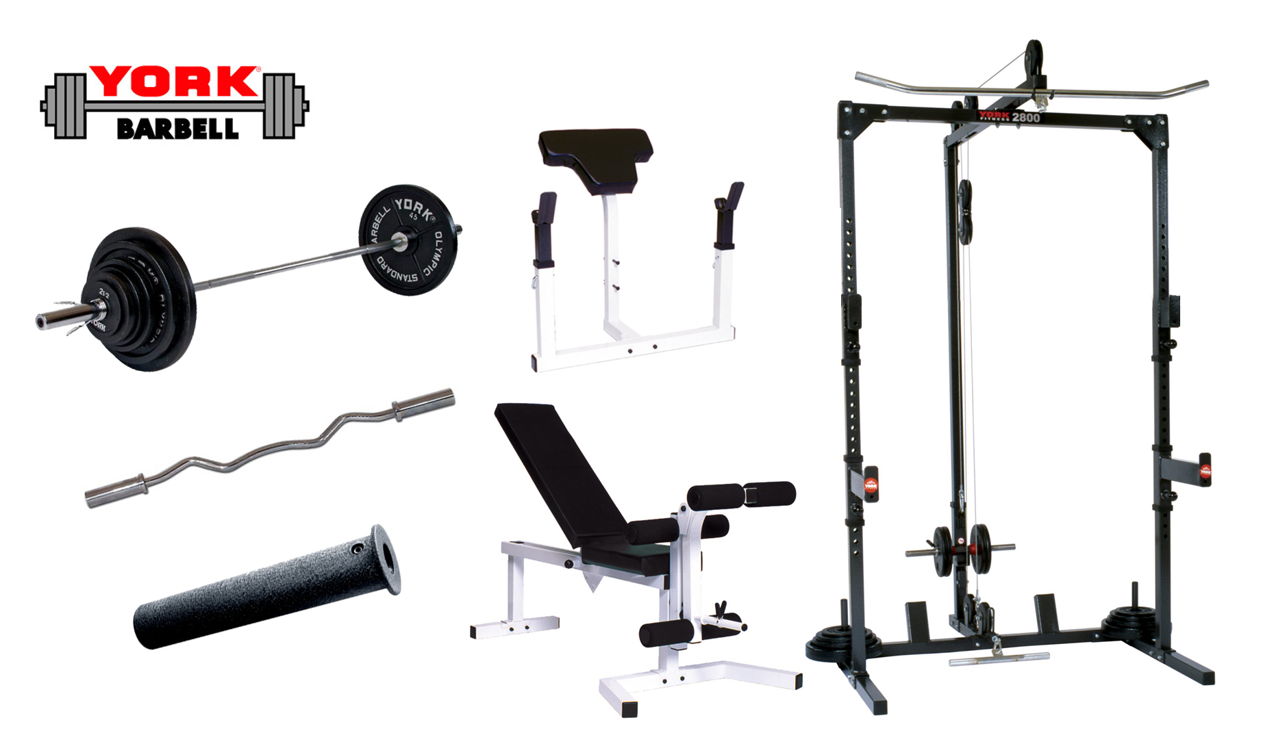 Basic Training Cage With Barbell System York Barbell