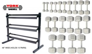 5-50lb Cast Iron Hex Dumbbells With Deluxe 3 Tier Rack - York Barbell