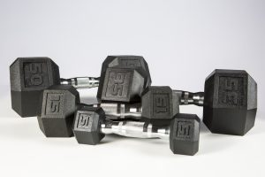 5-50lb York Premium PVC Hex Dumbbell – Chrome Ergo Handle – SET
