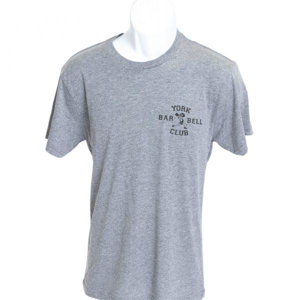 often imitated never duplicated york barbell heather tshirt