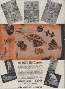 York Barbell Big 12 black & white image