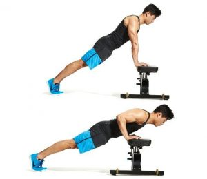 hand elevated push up with bench
